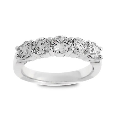 Azaro Jewelry 14k White Gold 1 1/2ct TDW Round Diamond Wedding Band