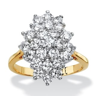 14k Gold Overlay 1 7/8ct TGW Cubic Zirconia Marquise Cluster Cocktail Ring