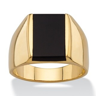 14k Gold Overlay Men's Emerald-cut Genuine Black Onyx Classic Ring (More options available)