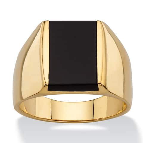 14k Gold Overlay Men's Emerald-cut Genuine Black Onyx Classic Ring