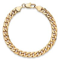 Men's Yellow Gold Ion-Plated Curb-Link Bracelet (6.5mm), 8""