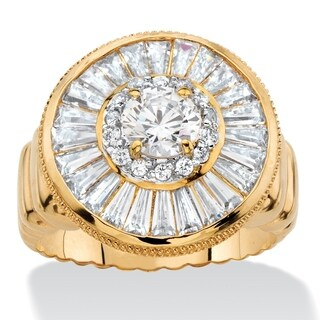 4.55 TCW Round and Baguette-Cut Cubic Zirconia Cluster Halo Ring 14k Gold-Plated Glam CZ
