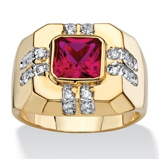 PalmBeach Men's 2.12 TCW Square-Cut Simulated Ruby and Cubic Zirconia Octagon Ring 14k Gold-Plated