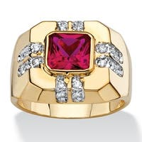 Men'S 2.12 Tcw Square-Cut Simulated Ruby And Cubic Zirconia Octagon Ring