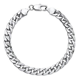 "Men's Classic 6.5 mm Curb-Link Bracelet Silvertone 8"""""