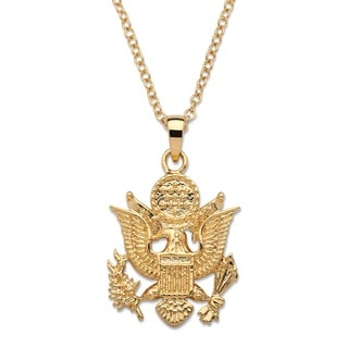 PalmBeach 14k Gold Overlay Men's Army Pendant Necklace