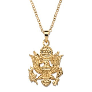 14k Gold Overlay Men's Army Pendant Necklace
