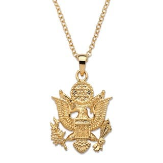 14k mens necklaces for less overstock 14k gold overlay mens army pendant necklace aloadofball Image collections