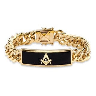 Men's Oblong Genuine Onyx Masonic Insignia Curb-Link Bracelet 14k Gold-Plated 8""""