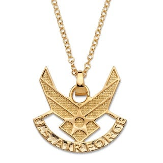 PalmBeach Men's Air Force Pendant Necklace 14k Gold-Plated 20""""
