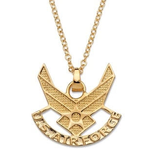 Men's Air Force Pendant Necklace 14k Gold-Plated 20""""