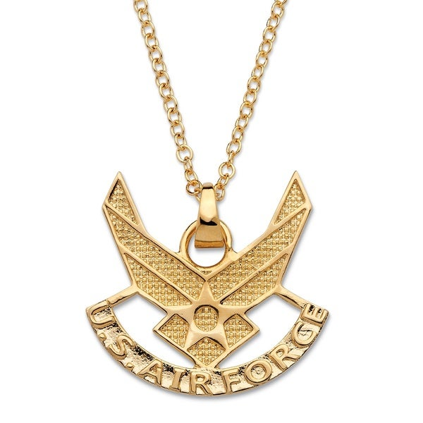 Shop mens air force pendant necklace 14k gold plated 20 free menx27s air force pendant necklace 14k gold plated aloadofball Choice Image