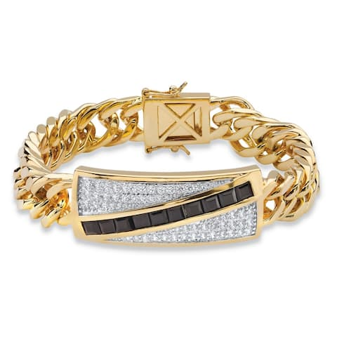 Men's Yellow Gold-Plated Princess Cut Onyx and Round Link Bracelet Cubic Zirconia, (1 3/4 ct)