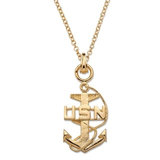 PalmBeach Men's Navy Pendant Necklace 14k Gold-Plated 20""""