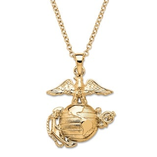 PalmBeach Men's Marine Corps Pendant Necklace 14k Gold-Plated 20""""