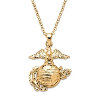 """Men's Marine Corps Pendant Necklace 14k Gold-Plated 20"""""""""""