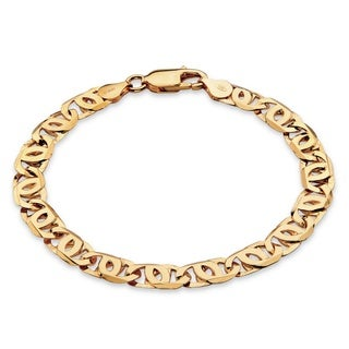 PalmBeach Men's Bird's-Eye Interlocking Link Bracelet in 14k Gold over Sterling Silver 8""""