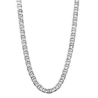 PalmBeach Men's Silvertone Mariner-Link 7 mm Classic Chain Necklace