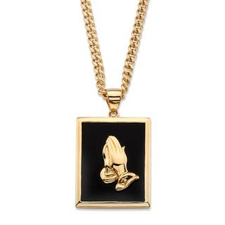 Buy gemstone mens necklaces online at overstock our best yellow gold plated praying hands pendant 20mm rectangular shaped natural black onyx aloadofball Image collections