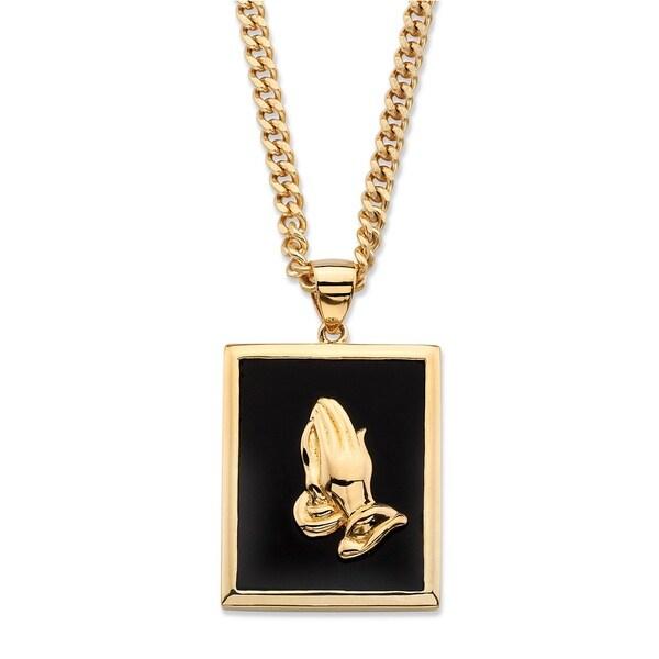 s genuine black onyx praying pendant necklace