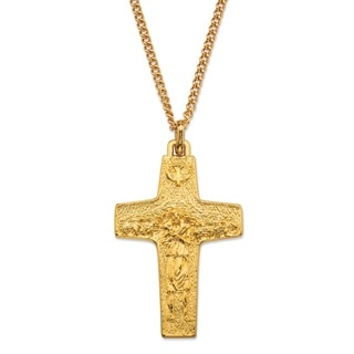 Goldtone Overlay Men's Replica Pope Francis Cross Pendant Necklace