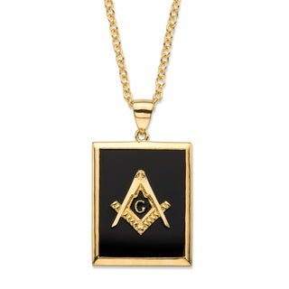 Men's Emerald-Cut Genuine Black Onyx 14k Gold-Plated Masonic Square and Compasses Pendant