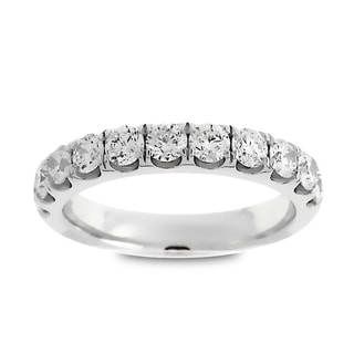 Azaro Jewelry 14k White Gold 1ct TDW Round Diamond Halfway Wedding Band