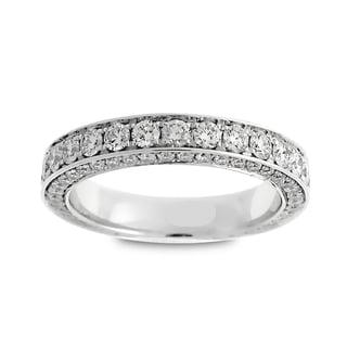 Azaro 18k White Gold 2ct TDW Round Diamond 3-row Eternity Wedding Band (G-H, SI1-SI2)