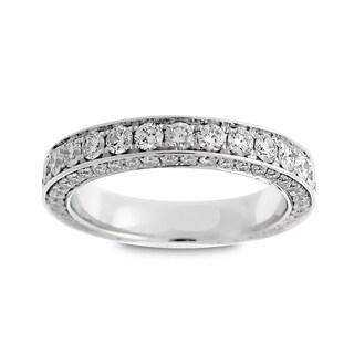 Azaro 18k White Gold 2ct TDW Round Diamond 3-row Eternity Wedding Band