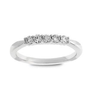 Azaro 14k White Gold 1/4ct TDW Round Diamond Wedding Band