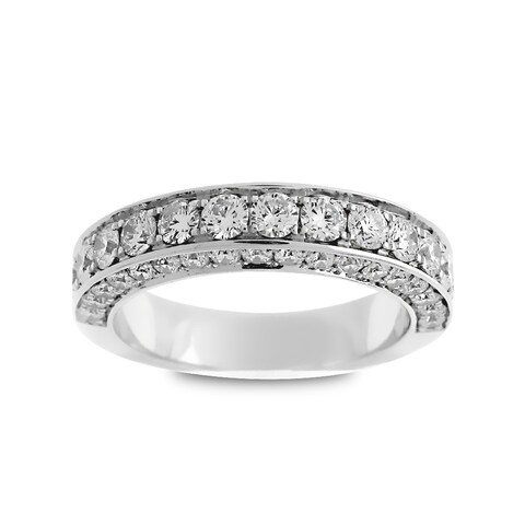 Azaro Jewelry 18k White Gold 1 1/2ct TDW Round Diamond 3-row Halfway Wedding Band