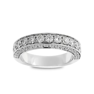 Azaro Jewelry 18k White Gold 1 1/2ct TDW Round Diamond 3-row Halfway Wedding Band