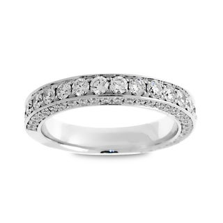 Azaro Jewelry 18k White Gold 1 2/5ct TDW Round Diamond 3-row Wedding Band (G-H, SI1-SI2)