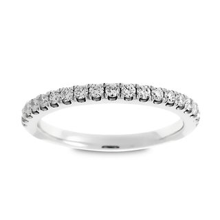 Azaro 14k White Gold 1/3ct TDW Round Diamond Halfway Wedding Band (G-H, SI1-SI2)