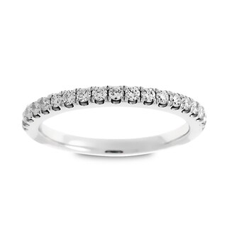 Azaro 14k White Gold 1/3ct TDW Round Diamond Halfway Wedding Band