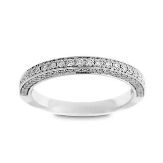Azaro 14k White Gold 1/2ct TDW Round Diamond 3-row Wedding Band (G-H, SI1-SI2)