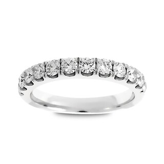 Azaro Jewelry 14k White Gold 3/4ct TDW Round Diamond Halfway Wedding Band