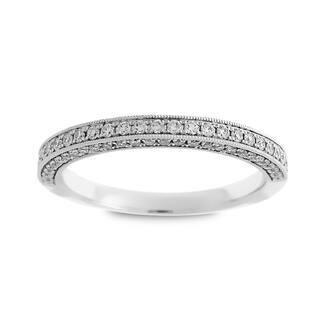 Azaro 14k White Gold 2 5ct Tdw Round Diamond 3 Row Halfway Wedding Band
