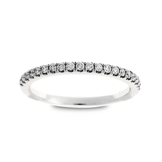 Azaro 14k White Gold 1/5ct TDW Round Diamond Halfway Wedding Band