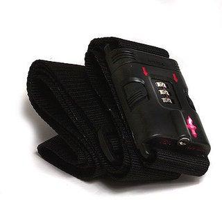 Safe Skies Black TSA-Recognized Locking Luggage Strap with Bonus Luggage Tag