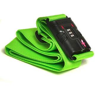 Safe Skies Green TSA-recognized Locking Luggage Strap with Bonus Luggage Tag