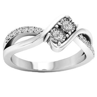 10k Gold 1/4ct TDW Round White Diamond 2-stone Split Shank Bypass Style Bridal Engagement Ring (I-J, I2-I3)