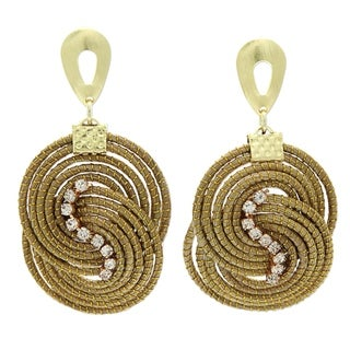 Handmade Golden Grass 'Intertwined Circles' Rhinestone Earrings (Brazil)