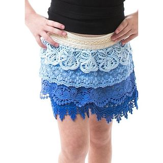 Soho Kids Girls Blue Ombre Tier Crochet Shorts for Summer/ Autumn