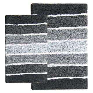 Cordural Mixed Black and Grey 2-piece Bath Rug Set