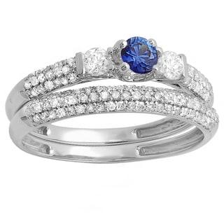 Elora 14k White Gold Blue Sapphire/White Diamond 3-stone Bridal Engagement Set (H-I and Blue, I1-I2)