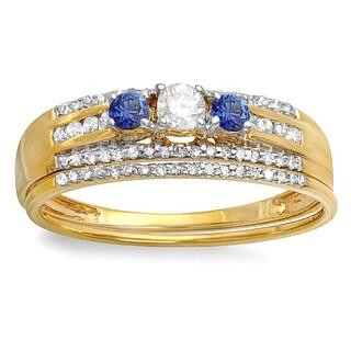 Elora 14-karat Yellow Gold 3/8-carat Round Blue Sapphire and White H-I I1-I2 Diamond Women's Three-stone B