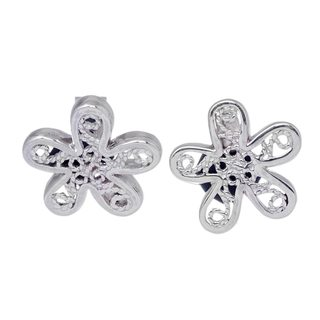 Handcrafted Sterling Silver 'Flowers of Rimac' Filigree Earrings (Peru)