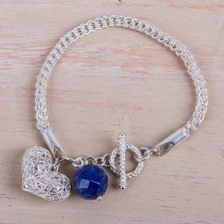 Handmade Sterling Silver Charming Sodalite Heart Charm Bracelet (Peru)