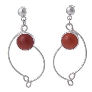 Handcrafted Sterling Silver 'Scarlet Energy' Carnelian Earrings (Peru)